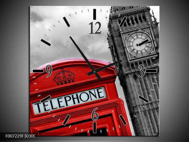 Wandklok Schilderij England, London | Zwart, Wit, Rood