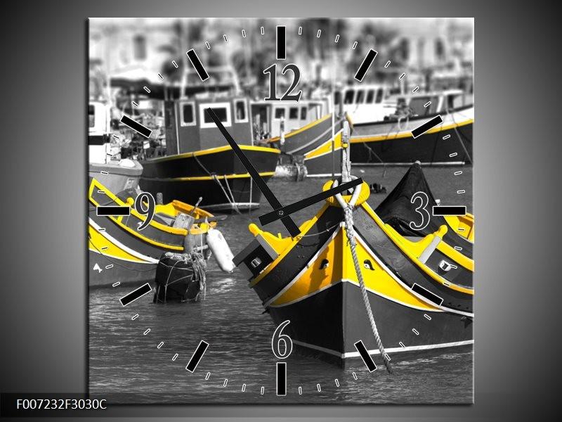 Wandklok Schilderij Boot, Water   Zwart, Wit, Geel