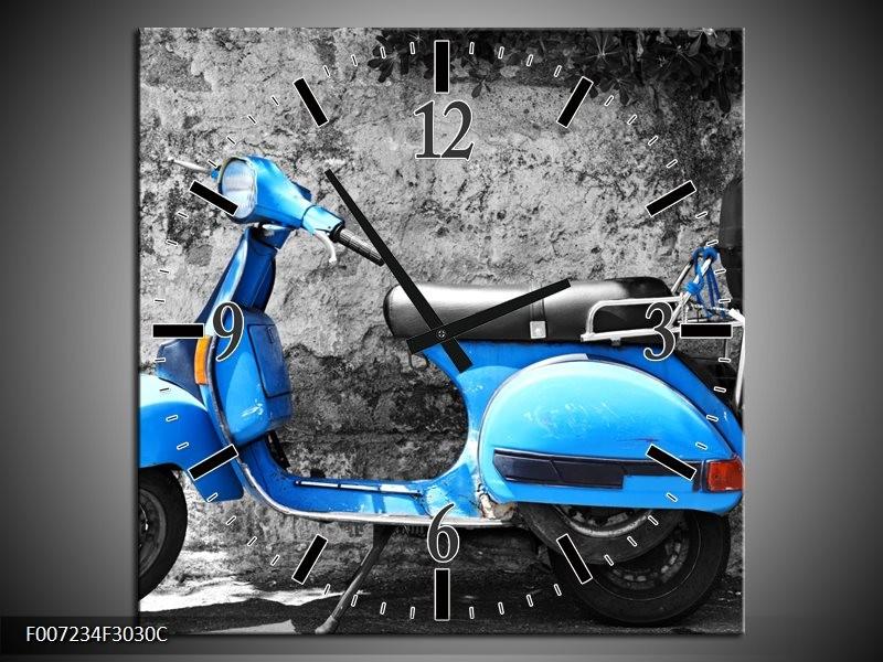 Wandklok Schilderij Scooter, Motor | Grijs, Blauw