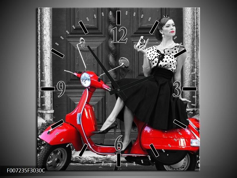 Wandklok Schilderij Scooter, Vrouw | Zwart, Wit, Rood