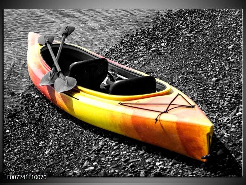 Canvas Schilderij Boot, Sport | Grijs, Geel, Oranje