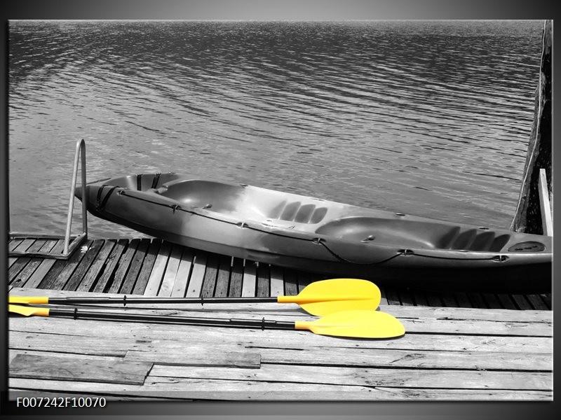 Canvas Schilderij Boot, Water   Zwart, Wit, Geel