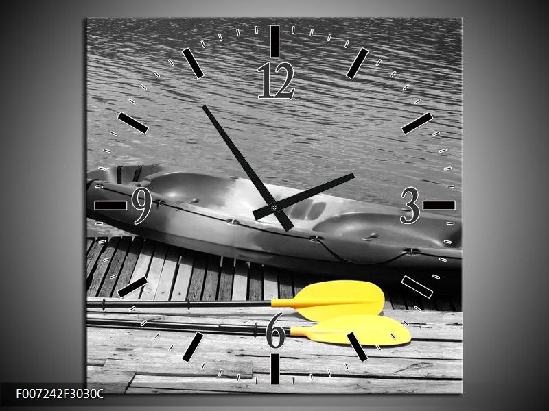 Wandklok Schilderij Boot, Water | Zwart, Wit, Geel