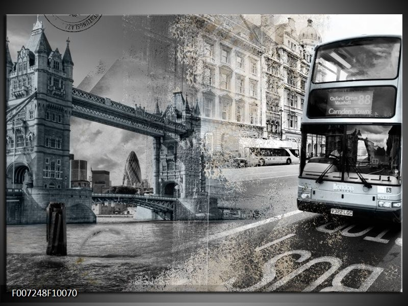 Canvas Schilderij Engeland, London | Grijs, Crème