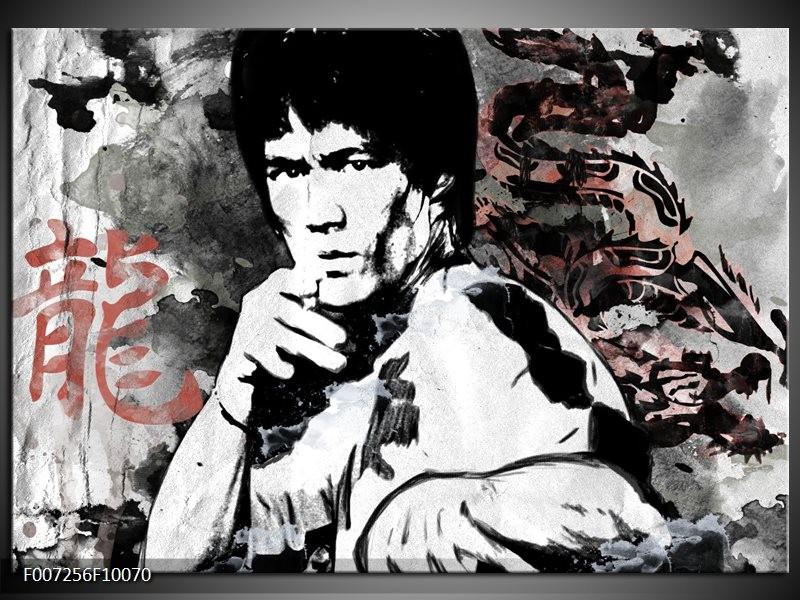 Canvas Schilderij Bruce Lee, Sport   Zwart, Wit, Rood