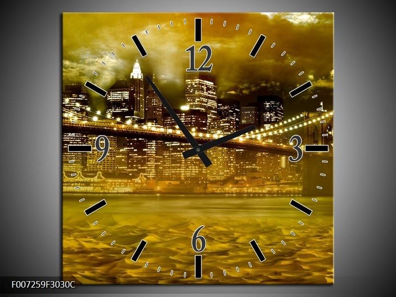 Wandklok Schilderij New York, Brug | Oranje, Bruin, Groen