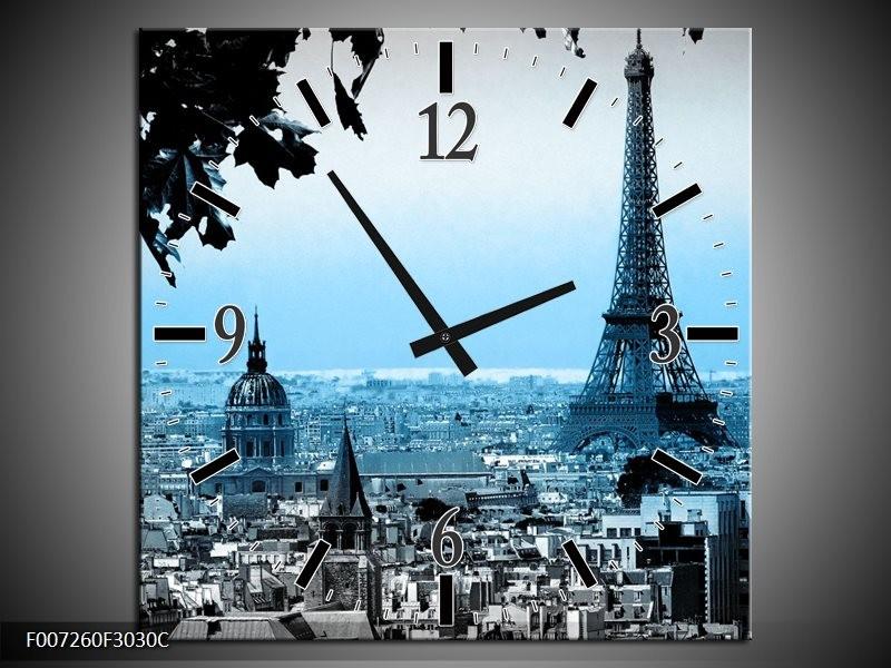 Wandklok Schilderij Parijs, Eiffeltoren | Grijs, Blauw