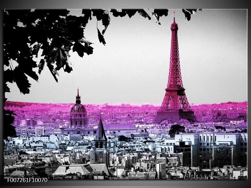 Canvas Schilderij Parijs, Eiffeltoren   Paars, Roze, Grijs