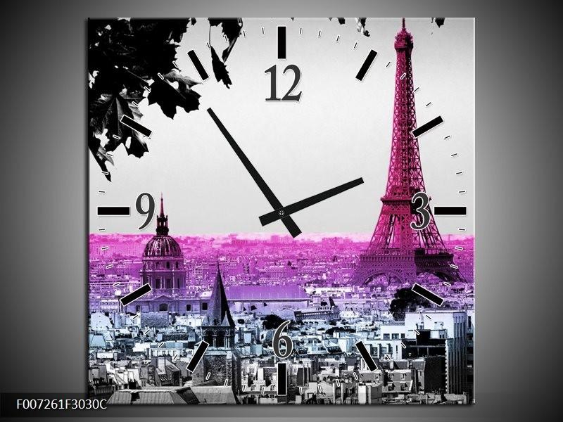 Wandklok Schilderij Parijs, Eiffeltoren | Paars, Roze, Grijs