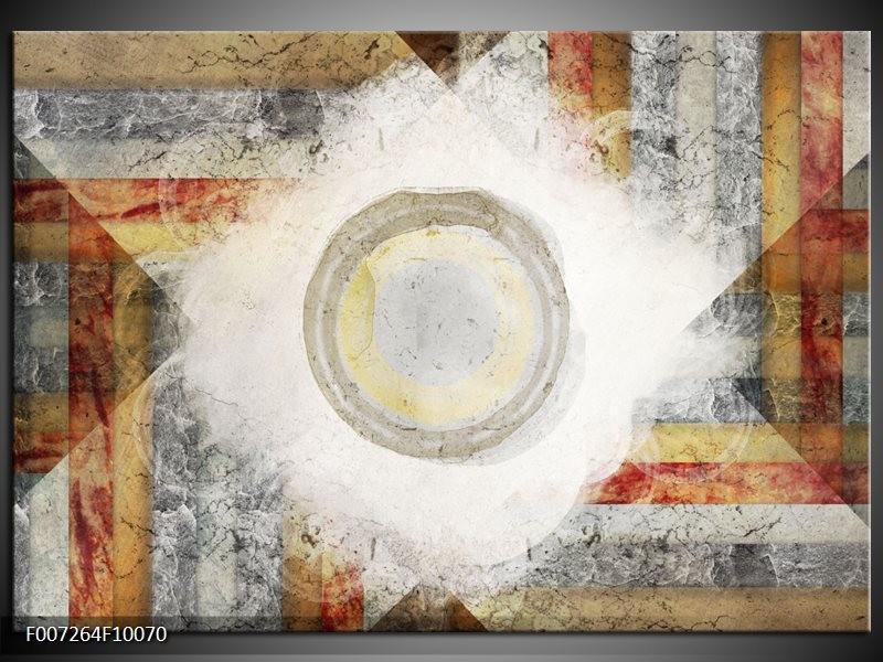 Canvas Schilderij Abstract | Grijs, Crème, Bruin
