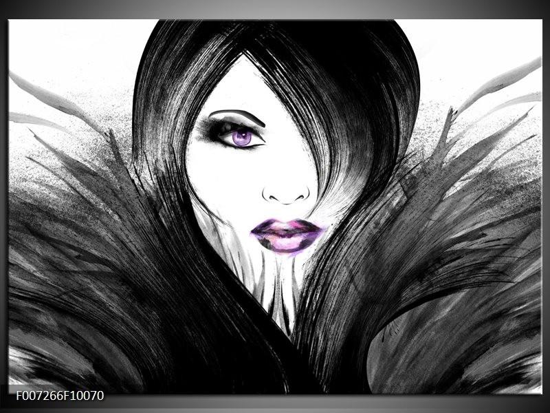 Canvas Schilderij Vrouw, Gezicht | Zwart, Wit, Paars