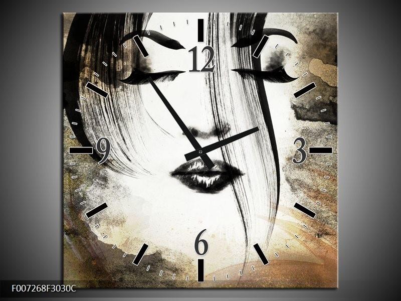 Wandklok Schilderij Vrouw, Gezicht | Zwart, Wit, Bruin