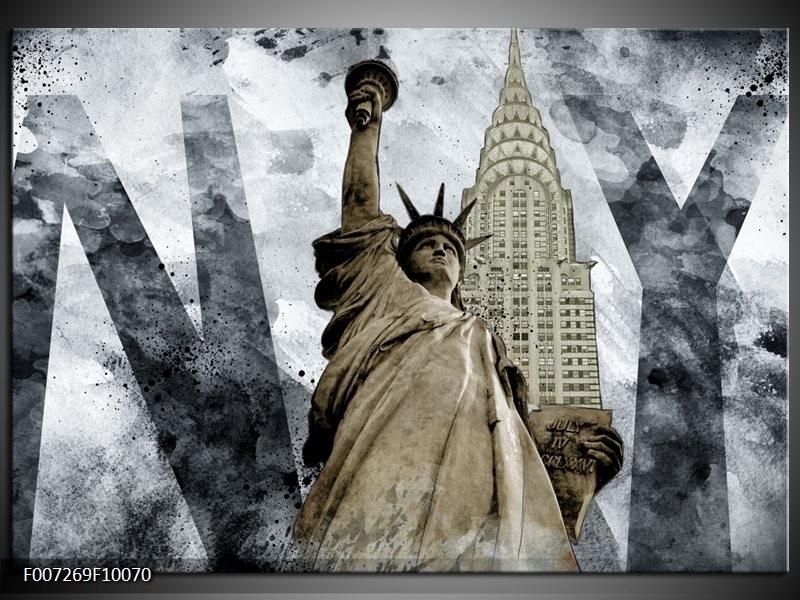 Canvas Schilderij Vrijheidsbeeld, New York | Grijs, Crème