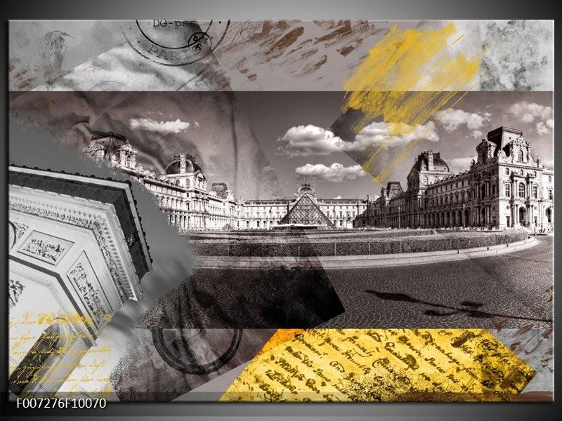 Canvas Schilderij Frankrijk, Louvre | Grijs, Crème, Geel