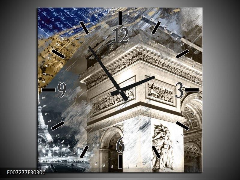 Wandklok Schilderij Frankrijk, Parijs | Grijs, Crème, Geel