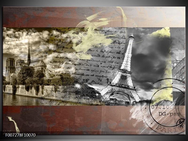 Canvas Schilderij Frankrijk, Parijs | Grijs, Geel, Bruin