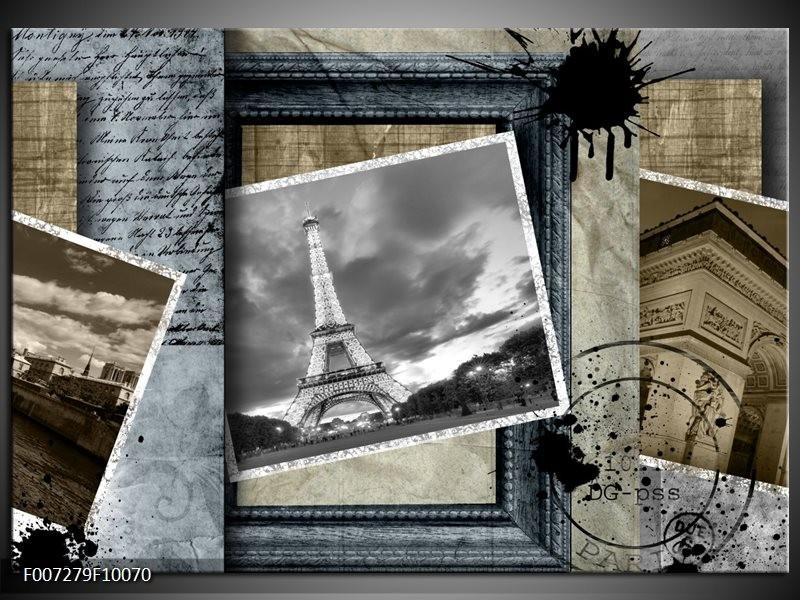 Canvas Schilderij Frankrijk, Parijs | Grijs, Crème, Bruin