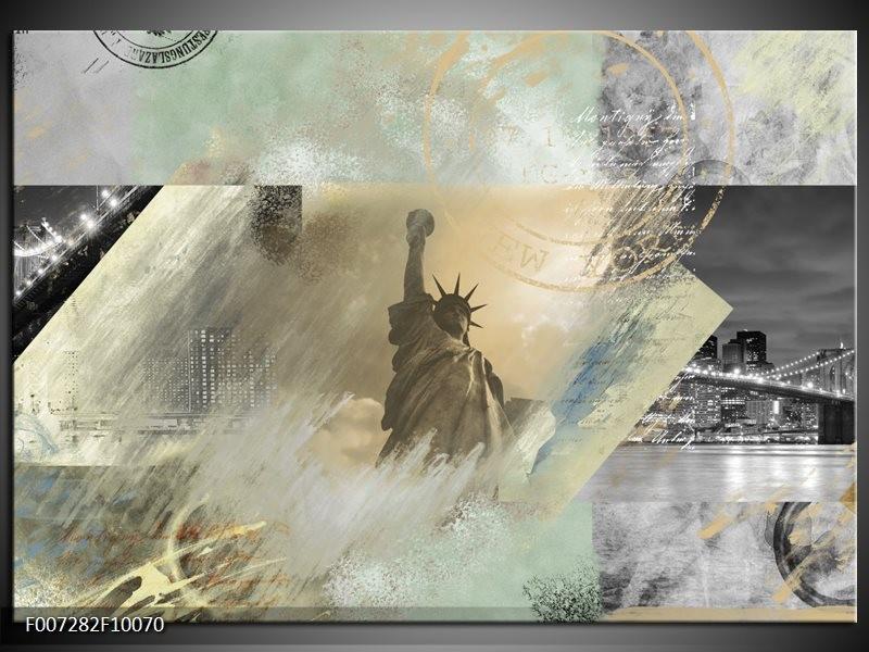 Canvas Schilderij Vrijheidsbeeld, New York | Grijs, Crème, Groen