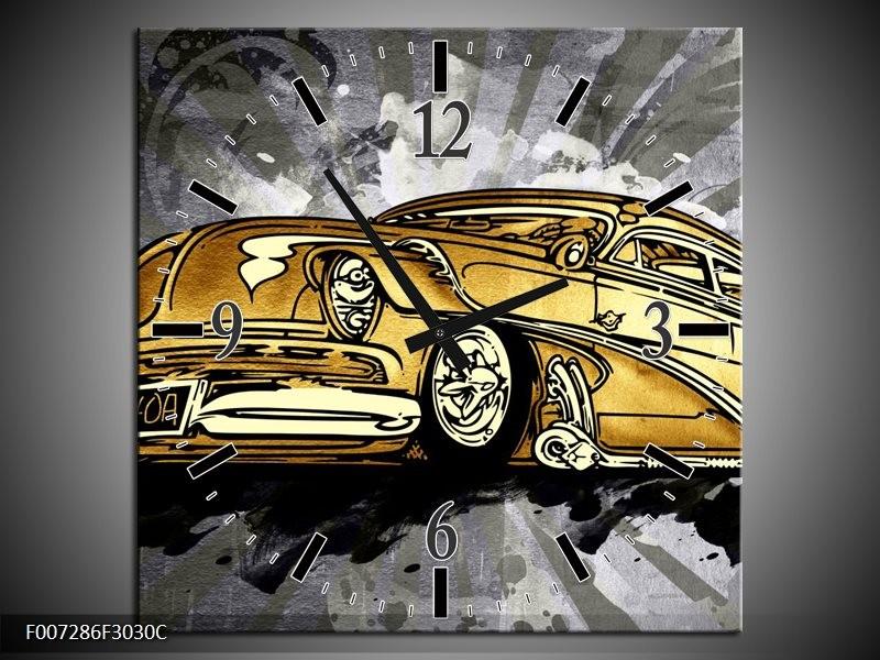 Wandklok Schilderij Oldtimer, Auto | Grijs, Geel, Goud