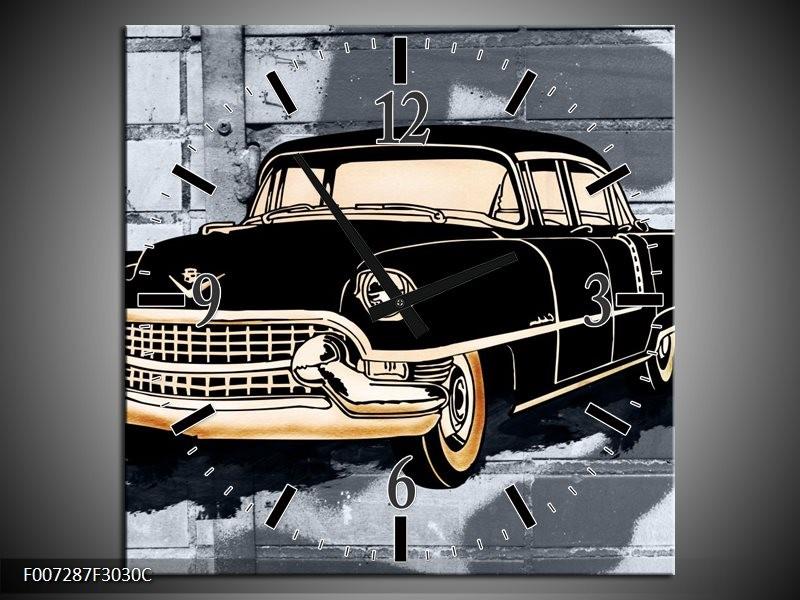 Wandklok Schilderij Oldtimer, Auto   Grijs, Zwart, Geel