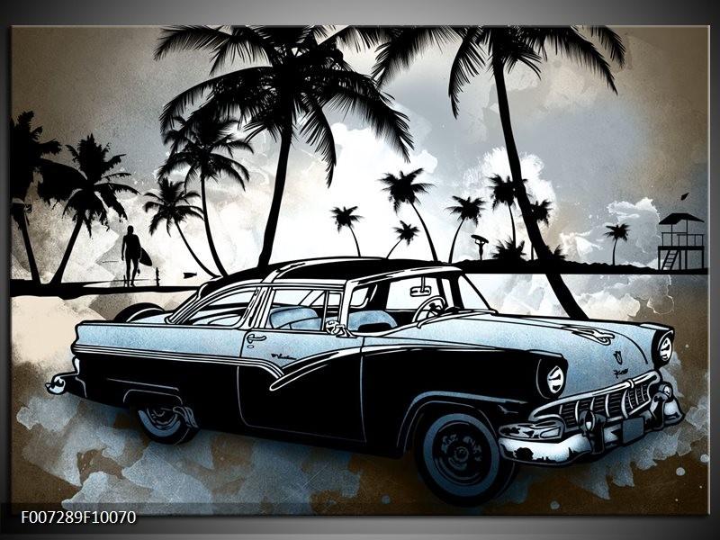 Canvas Schilderij Oldtimer, Auto   Zwart, Wit, Blauw