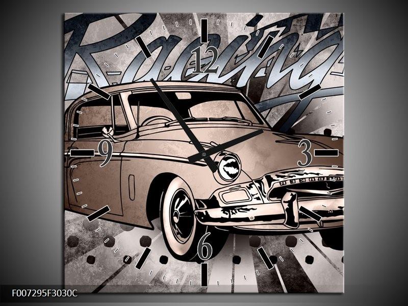 Wandklok Schilderij Oldtimer, Auto | Grijs, Bruin