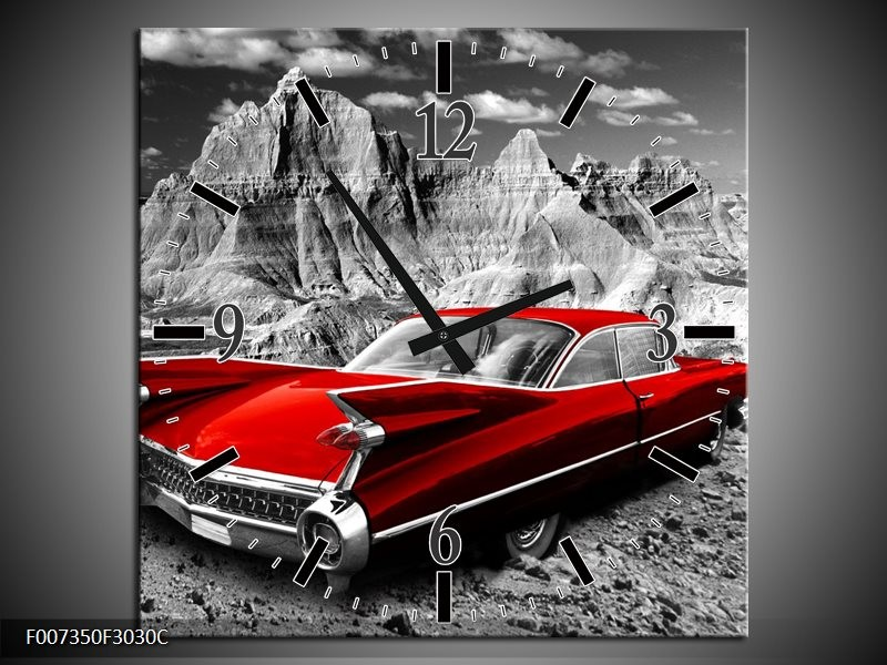 Wandklok Schilderij Oldtimer, Auto | Grijs, Rood