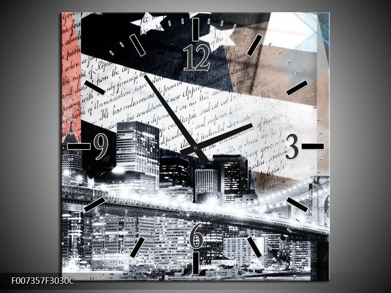 Wandklok Schilderij Steden, Modern | Grijs, Zwart, Wit