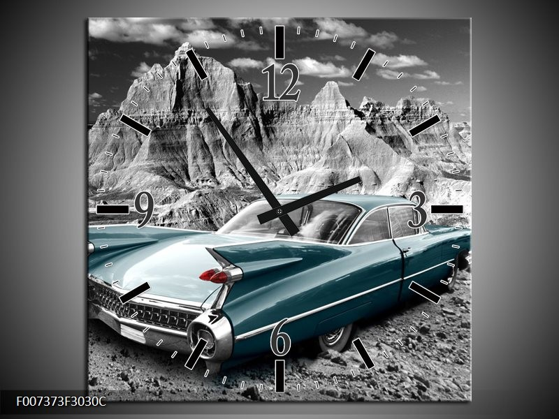 Wandklok Schilderij Oldtimer, Auto | Grijs, Groen, Blauw