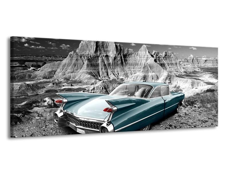 Canvas Schilderij Oldtimer, Auto   Grijs, Groen, Blauw   145x58cm 1Luik