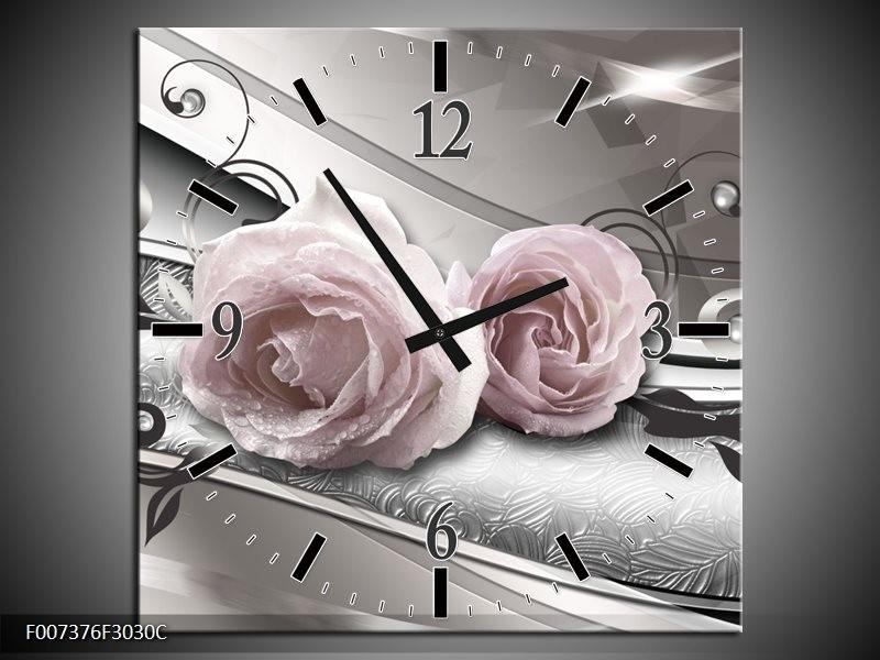 Wandklok Schilderij Bloemen, Modern | Grijs, Roze