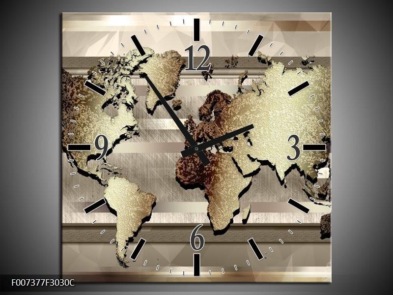 Wandklok Schilderij Wereldkaart | Bruin, Goud