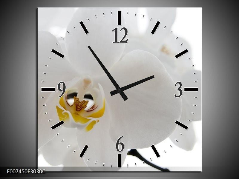 Wandklok Schilderij Orchidee, Bloemen | Wit, Geel