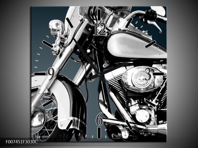 Wandklok Schilderij Motor | Grijs, Zilver