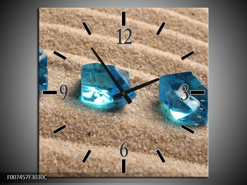 Wandklok Schilderij Zand, Stenen   Turquoise