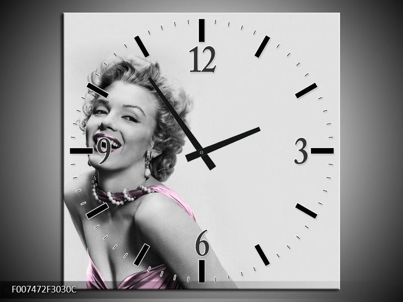 Wandklok Schilderij Marilyn Monroe, Muziek   Grijs, Wit, Paars