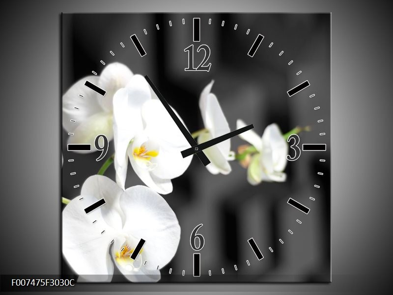 Wandklok Schilderij Orchidee, Bloemen | Zwart, Wit