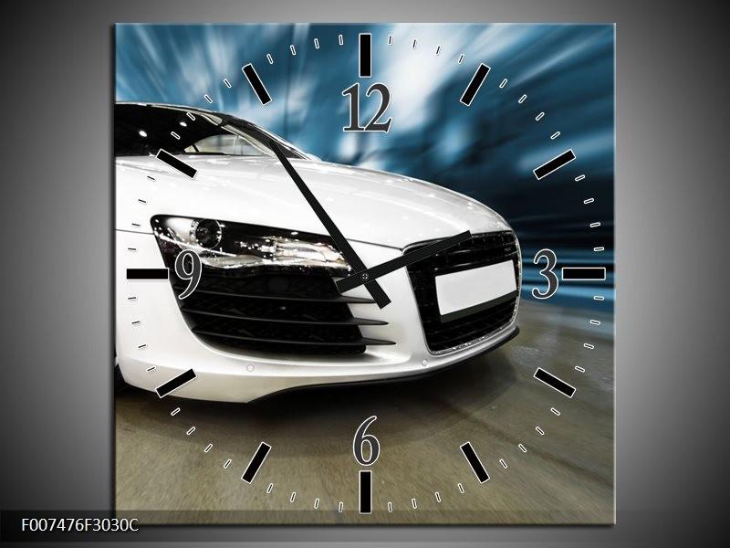 Wandklok Schilderij Audi, Auto | Wit, Blauw