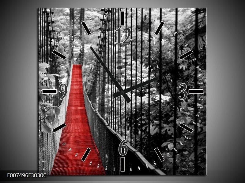 Wandklok Schilderij Natuur, Brug | Zwart, Wit, Rood