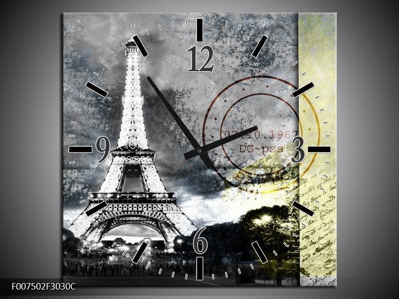 Wandklok Schilderij Parijs, Eiffeltoren   Grijs