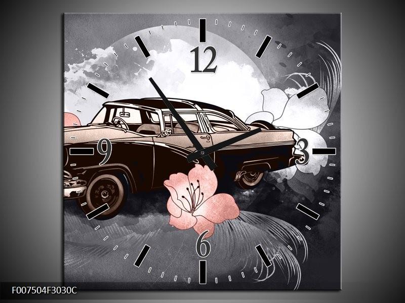 Wandklok Schilderij Oldtimer, Auto | Grijs