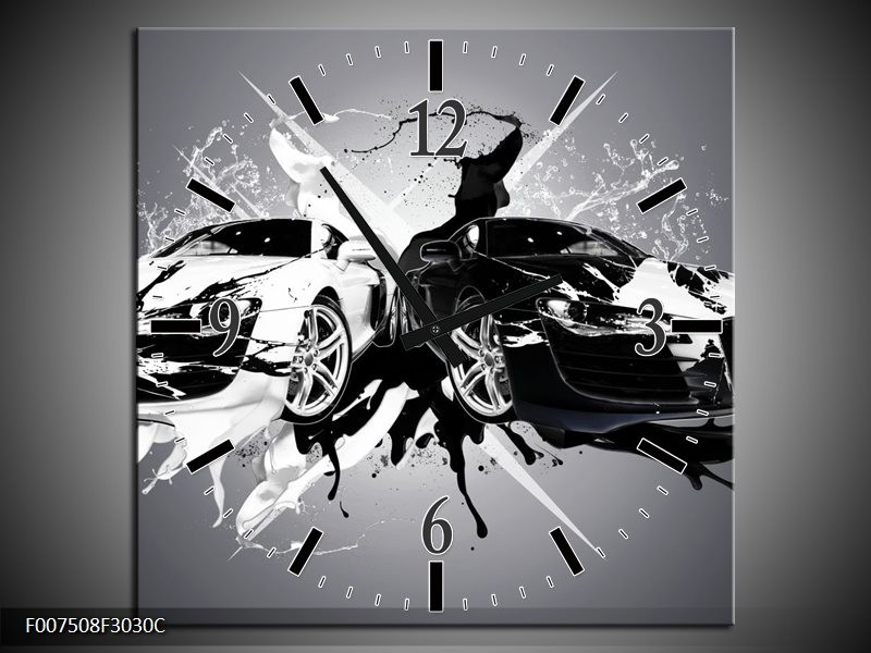 Wandklok Schilderij Audi, Auto | Zwart, Wit, Grijs
