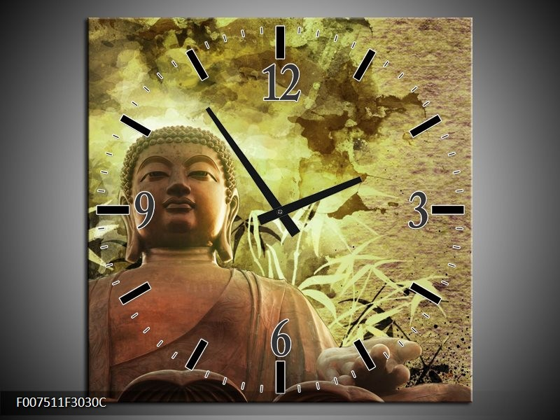 Wandklok Schilderij Boeddha, Beeld | Bruin, Groen