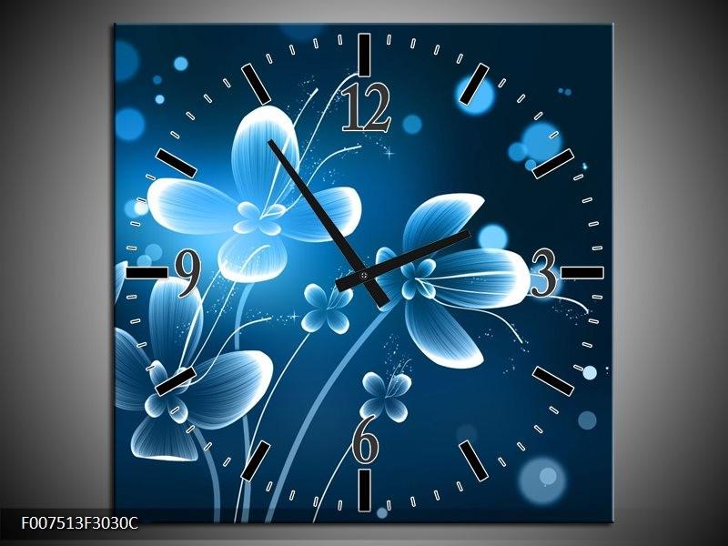 Wandklok Schilderij Bloemen, Modern | Blauw, Wit