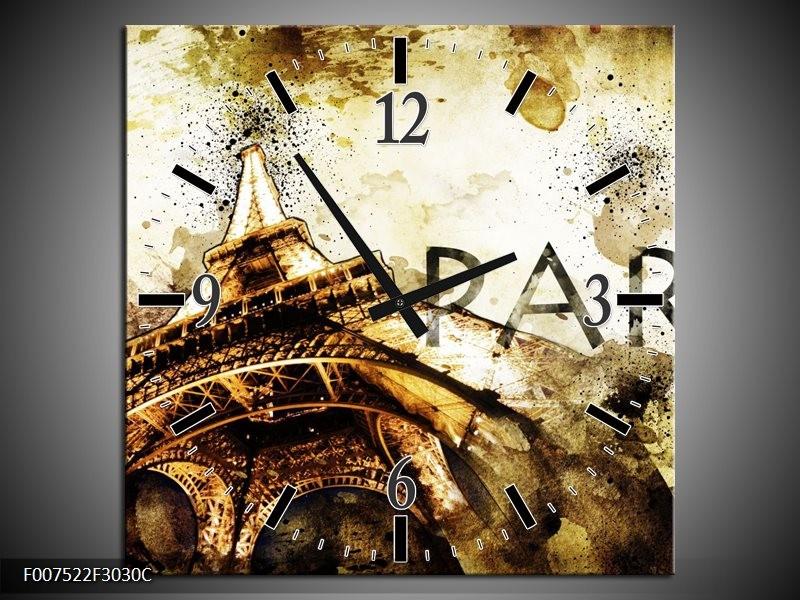 Wandklok Schilderij Parijs, Eiffeltoren | Bruin, Zwart, Geel