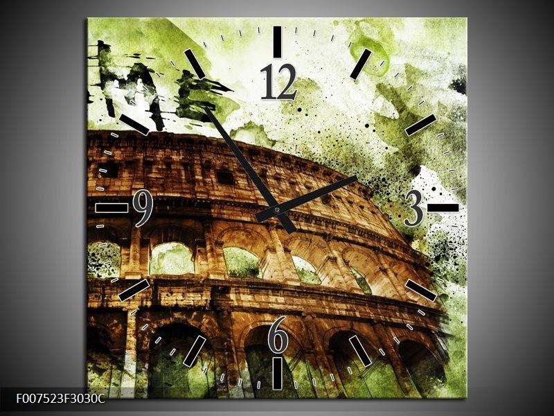 Wandklok Schilderij Italie, Rome | Groen, Bruin