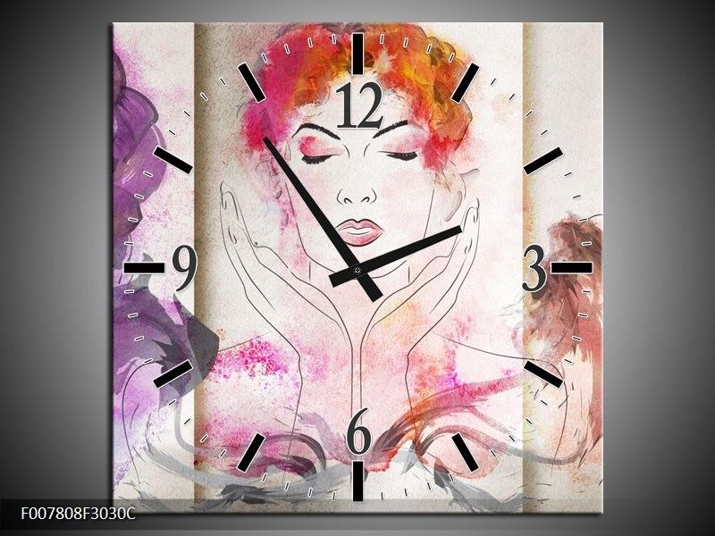 Wandklok Schilderij Vrouwen | Crème, Paars, Roze