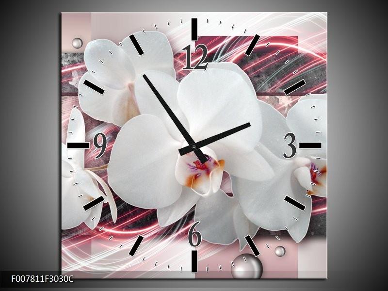 Wandklok Schilderij Orchidee, Bloemen | Roze, Grijs, Wit