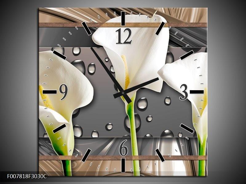 Wandklok Schilderij Bloemen, Modern | Grijs, Bruin