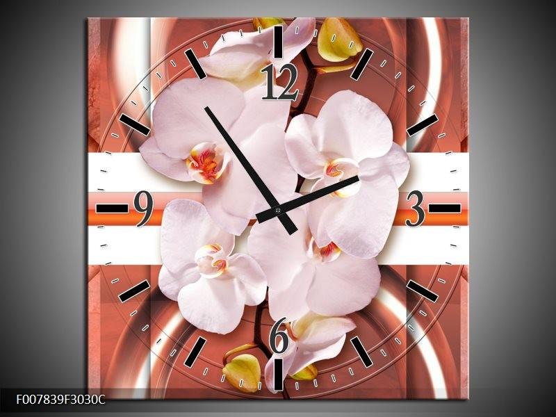 Wandklok Schilderij Orchidee, Modern | Bruin, Rood, Oranje
